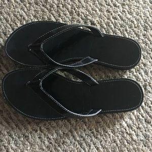 Coach Cadee Black leather flip flops